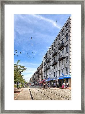 Savannah Street Scene - East River Street Framed Print by Mark E Tisdale