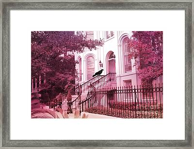 Savannah Surreal Pink House With Raven Framed Print by Kathy Fornal