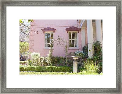 Savannah The Olde Pink House Restaurant Architecture - Savannah Romantic Pink House And Gardens  Framed Print by Kathy Fornal