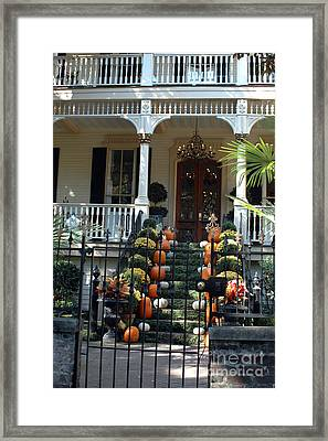 Savannah Victorian Home Fall Pumpkins Mums  Framed Print by Kathy Fornal