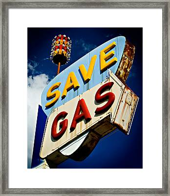 Save Gas Framed Print