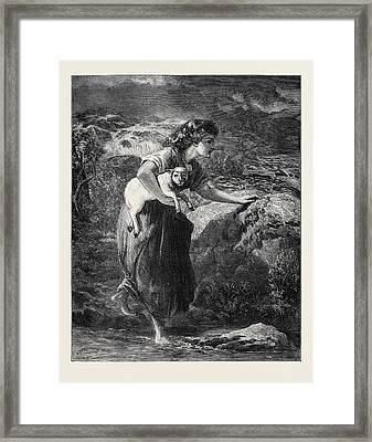 Saved From The Flood Framed Print by Topham, Francis William (1808-77), English