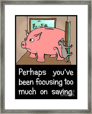 Framed Print featuring the drawing Saving Pig by Pet Serrano