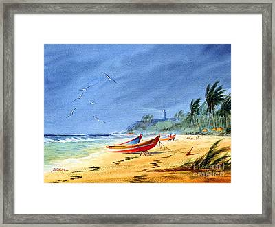Saving The Fishing Boats - Maunabo Beach Puerto Rico Framed Print by Bill Holkham