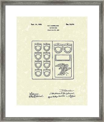 Savings Book 1926 Patent Art Framed Print by Prior Art Design