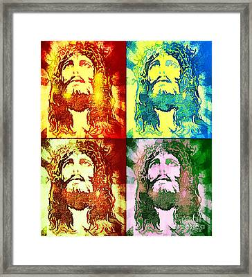 Framed Print featuring the painting Savior Faces by Dave Luebbert