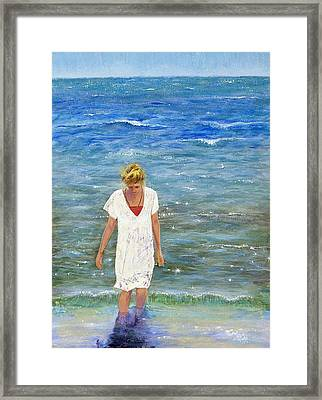 Framed Print featuring the painting Savoring The Sea by Margaret Bobb