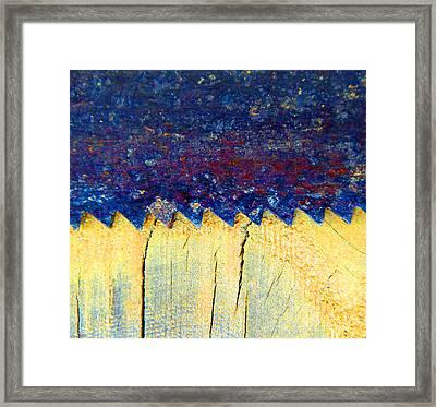 Saw On Wood B Framed Print by Laurie Tsemak