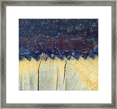 Saw On Wood C Framed Print by Laurie Tsemak