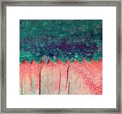 Saw On Wood E Framed Print by Laurie Tsemak