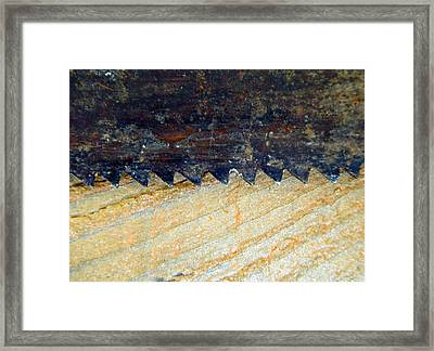 Saw On Wood H Framed Print by Laurie Tsemak