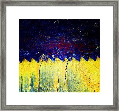 Saw On Wood Framed Print by Laurie Tsemak