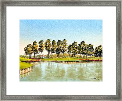 Framed Print featuring the painting Sawgrass Tpc Golf Course 17th Hole by Bill Holkham