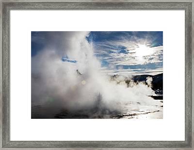 Sawmill Geyser Erupting Framed Print by Jim West