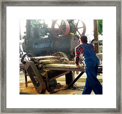 Framed Print featuring the photograph Sawmill Planer In Action by Pete Trenholm