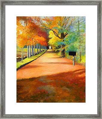 Sawmill Road Autumn Vermont Landscape Framed Print