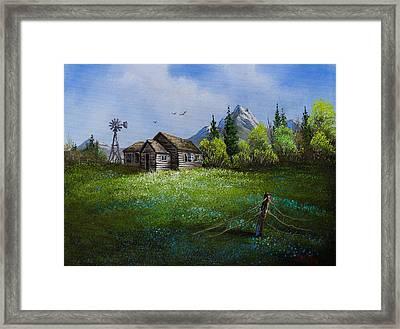 Sawtooth Mountain Homestead Framed Print by C Steele