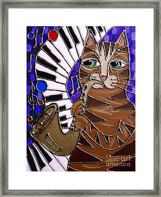Sax Cat 2 Framed Print