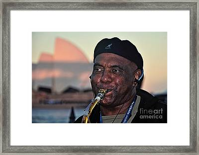 Sax In The City Framed Print by Kaye Menner
