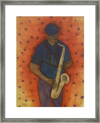 Sax Man Framed Print by Larry Farris