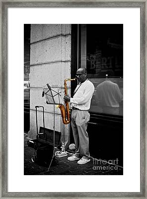 Framed Print featuring the photograph Sax Player  by Sarah Mullin