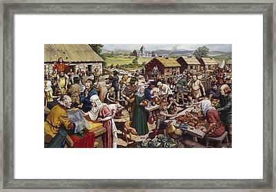 Saxon Village Fair Colour Litho Framed Print by Mike White