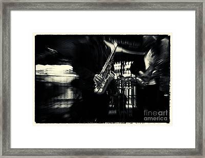 Saxophone At Columbus Circle New York City Framed Print by Sabine Jacobs