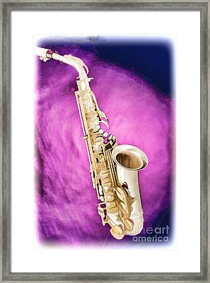 Saxophone Jazz Instrument Bell Painting In Color 3272.02 Framed Print by M K  Miller