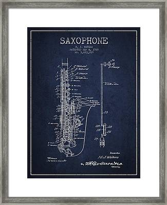 Saxophone Patent Drawing From 1928 Framed Print