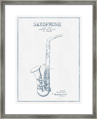 Saxophone Patent Drawing From 1937 - Blue Ink Framed Print by Aged Pixel