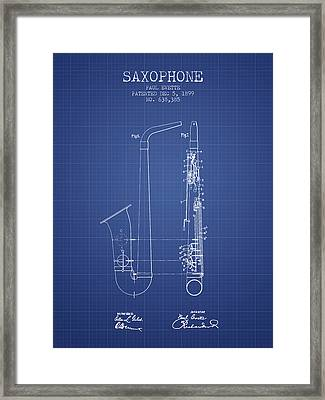 Saxophone Patent From 1899 - Blueprint Framed Print by Aged Pixel