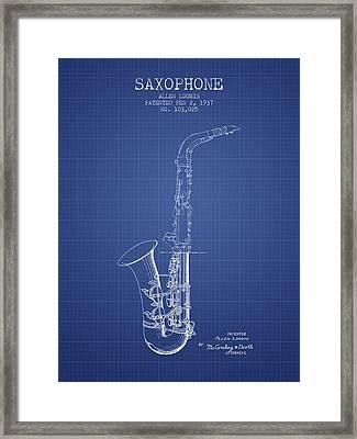 Saxophone Patent From 1937 - Blueprint Framed Print by Aged Pixel