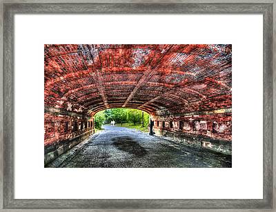 Saxophone Player At Driprock Arch In Central Park Framed Print by Randy Aveille