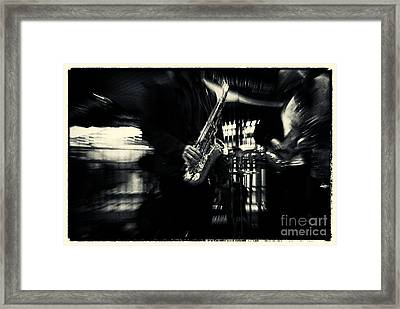 Saxophone Player In New York City Framed Print by Sabine Jacobs