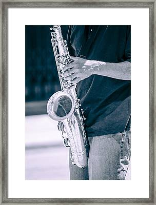 Saxophone Player On Street Framed Print by Carolyn Marshall