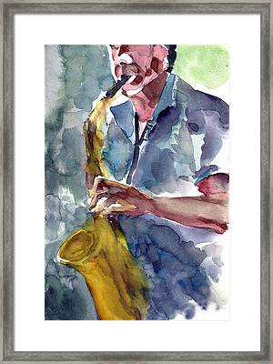 Framed Print featuring the painting Saxophonist by Faruk Koksal