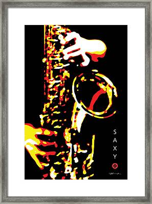 Saxy Black Poster Framed Print by David Davies