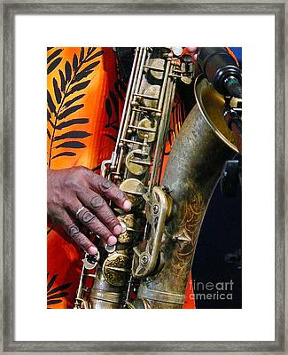Saxy Framed Print by Jeanne  Woods