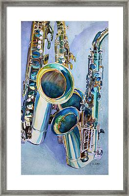 Saxy Trio Framed Print by Jenny Armitage