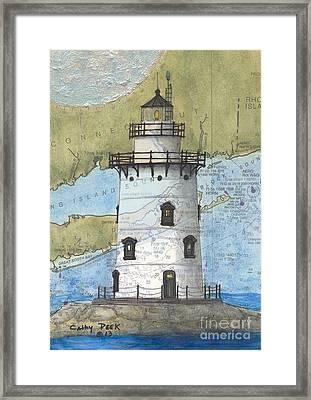 Saybrook Lighthouse Ct Chart Map Art Framed Print by Cathy Peek
