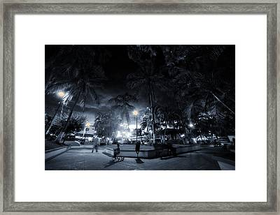 Sayulita Plaza At Night Framed Print by Camilla Fuchs