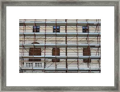 Scaffolding On Building Facade Framed Print