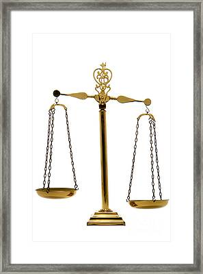 Scale Of Justice Framed Print by Olivier Le Queinec