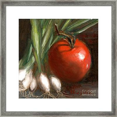 Scallions And Tomato Framed Print by Addie Hocynec