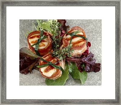 Scallops Wrapped In Bacon On Spring Lettuce Framed Print by Iris Richardson