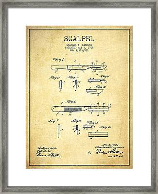 Scalpel Patent From 1916 - Vintage Framed Print