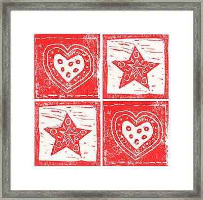 Scandinavian Hearts And Stars Framed Print