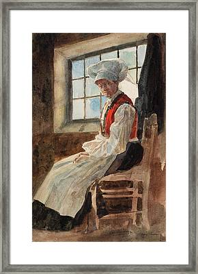 Scandinavian Peasant Woman In An Interior Framed Print by Alexandre Lunois