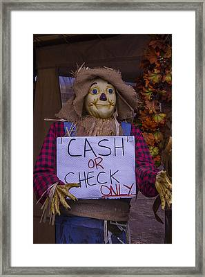 Scarecrow Holding Sign Framed Print