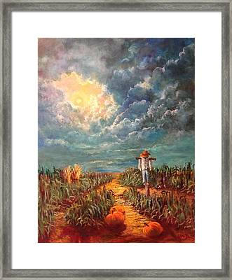 Scarecrow Moon Pumpkins And Mystery Framed Print